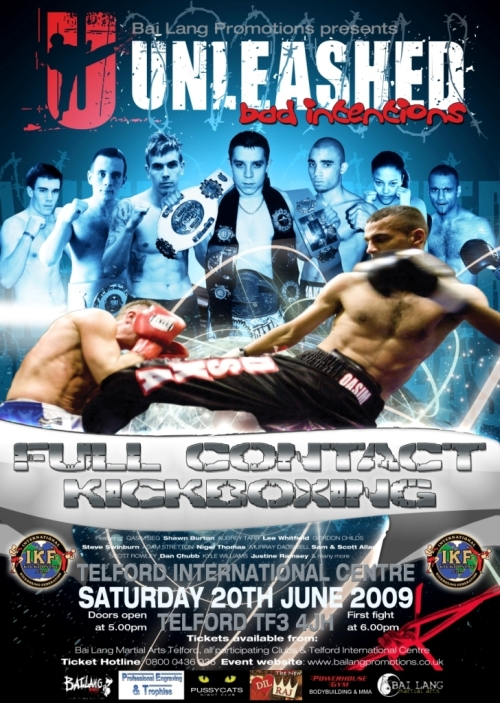 UNLEASHED Full Contact Kickboxing Sat June 20th Telford International Centre